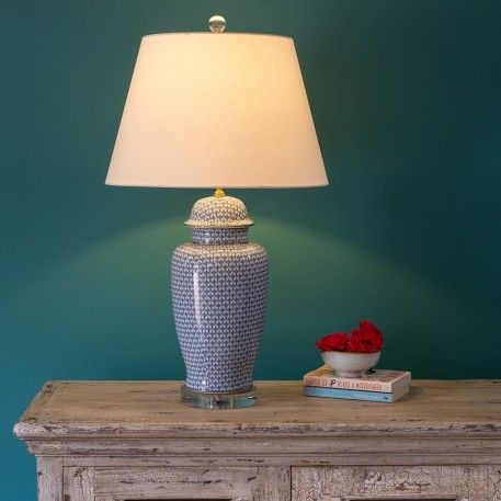 a traditional chinese ceramic table lamp with lamp shade included tablelamp