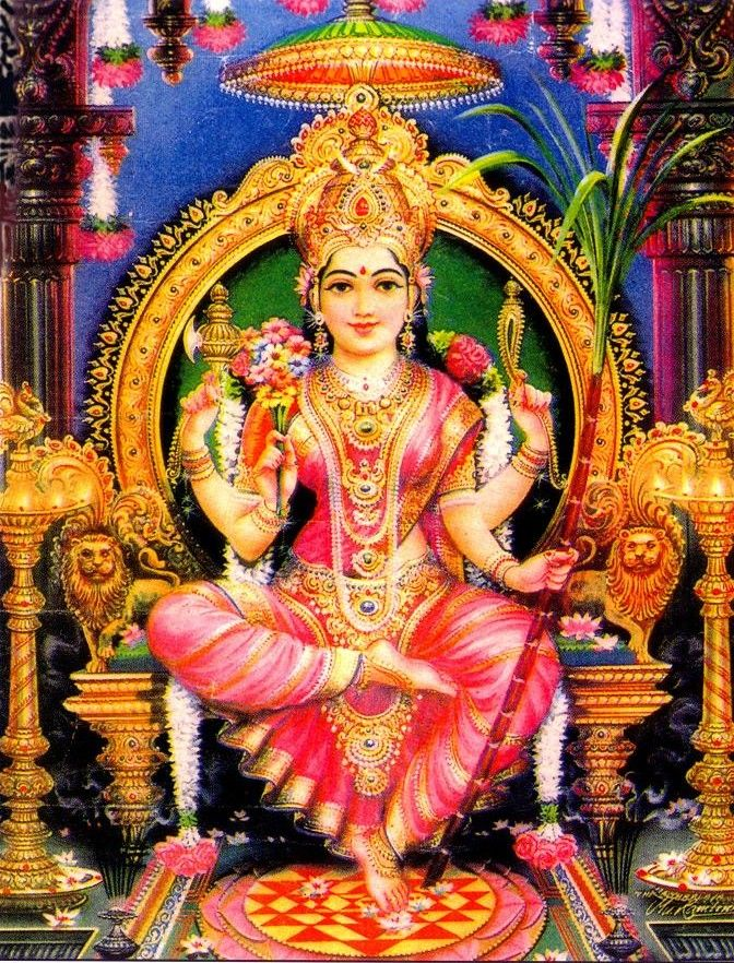 """Sri Lalita - Tripurasundari enthroned with her left foot upon the Sri Chakra, holding her traditional symbols, the sugarcane bow, flower arrows, noose and goad. 'Shaktism' regards Devī (lit., 'the Goddess') as the Supreme Brahman itself, the """"one without a second"""", with all other forms of divinity, female or male, considered to be merely her diverse manifestations. 'Shaktism' focuses worship upon Shakti or Devi – the Hindu Divine Mother"""