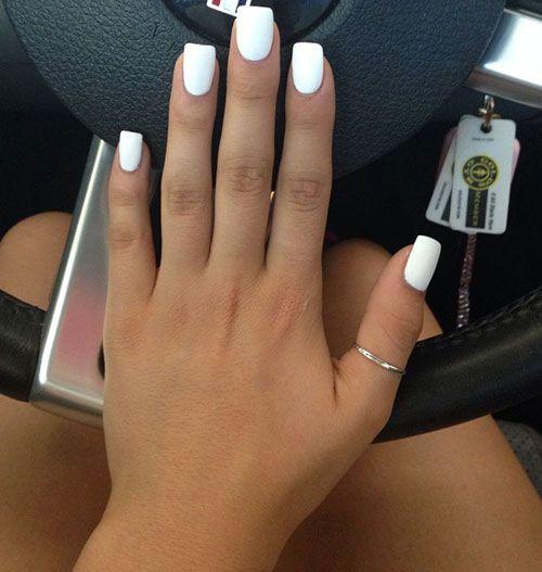 Acrylic Coffin Short Grey Nails