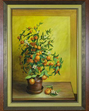 Appeltjes van Oranje, 2002  Olieverf op doek, afmeting 50 x 70 cm  Een sinaasappelplant in een terracotta in een nis. Het schilderij toont de diverse stadia van de sinaasappel: in de knop, in de bloei en als vruchten. De titel is een verwijzing naar het koningshuis. Het schilderij is gedateerd op 2-2-2002. Dat was de dag waarop toen nog prins Willem-Alexander en prinses Maximá elkaar het ja-woord gaven.