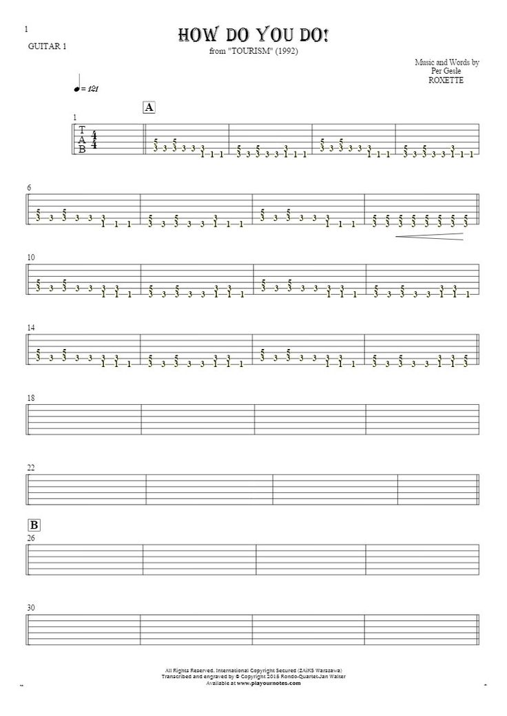 How Do You Do! sheet music by Roxette. From album Tourism (1992). Part: Tablature for guitar - guitar 1 part.