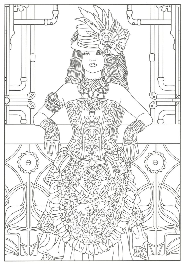 38 best Steampunk Color Pages images on Pinterest | Coloring books ...