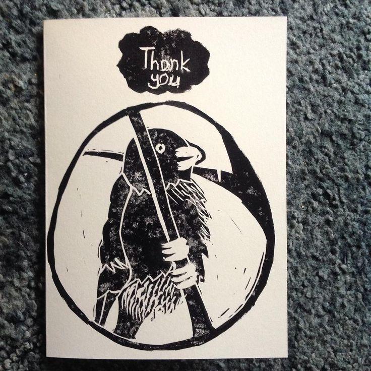 #linocut #print of a #bullfinch  #thankyou card