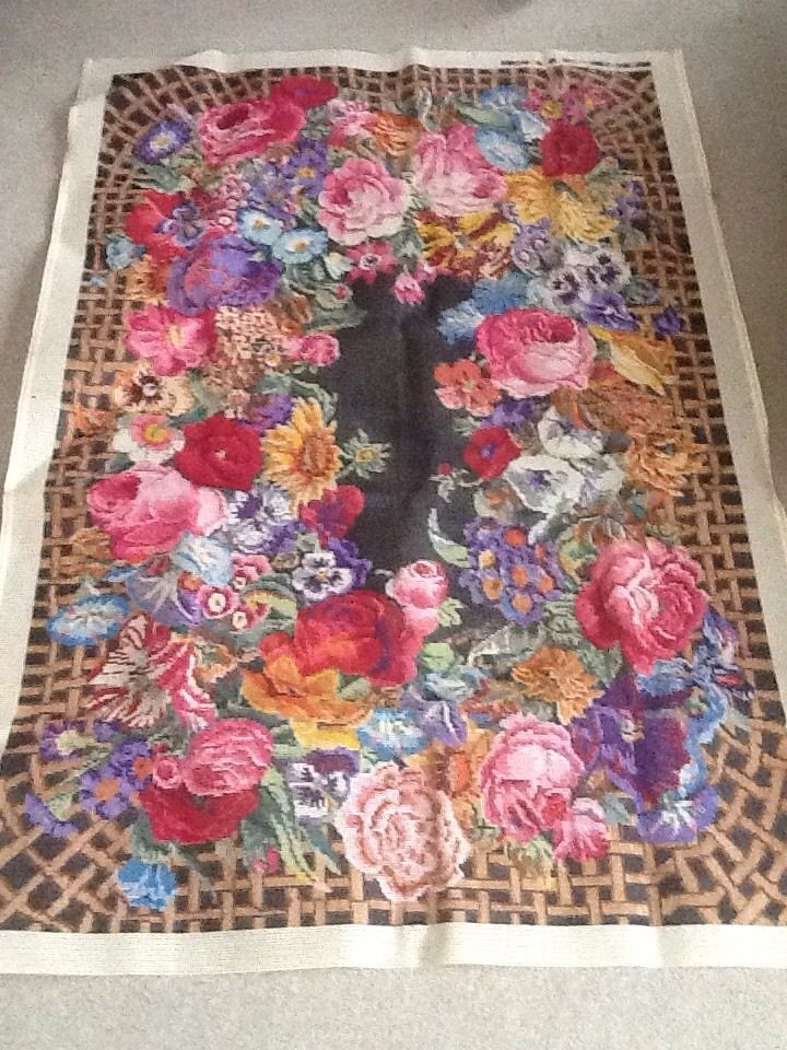 Vintage Huge Kaffe Fassett Tapestry Rug Rose Floral