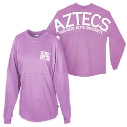 SDSU Sorority Long Sleeve Tee Women's loose-fit long sleeve tee, featuring SDSU with an established date of 1897 screen printed in puff ink on the left chest, and Aztecs above San Diego State University across the upper back. Also available in black. $39