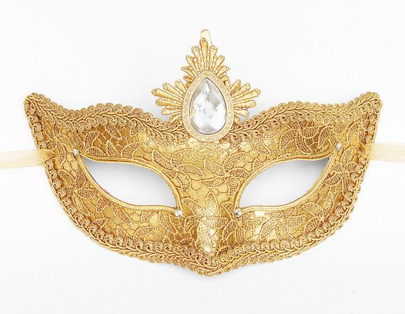Gold Lace Masquerade Mask - Venetian Style Halloween Mask With Rhinestones And Gem - For Masquerade Ball, Prom, Costume Party, Wedding