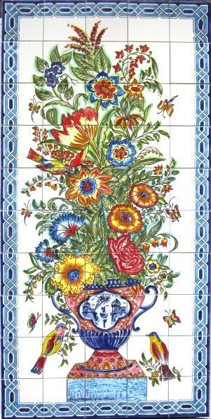 DECORATIVE CERAMIC TILES: large mosaic panel hand painted wall mural kitchen bathroom shower pool patio deck backsplash art tile 60in x 30in on Etsy, $550.00