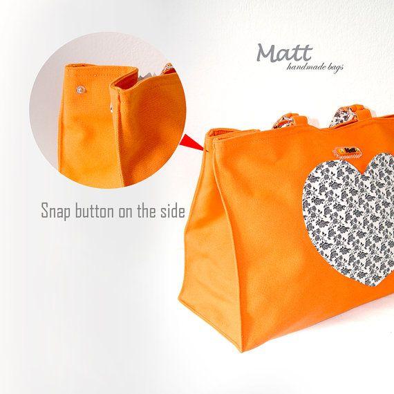 Large orange color canvas tote bag shoulder bag Heart by MATTBAGS