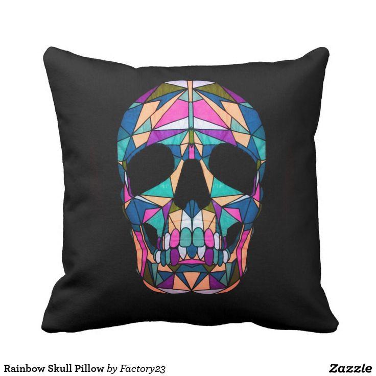 #pillow #skull #geometric #rainbow