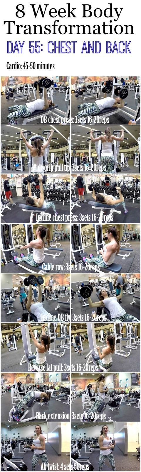 awesome 8 Week Body Transformation: Day 55 CHEST and BACK - Fitness Food Diva