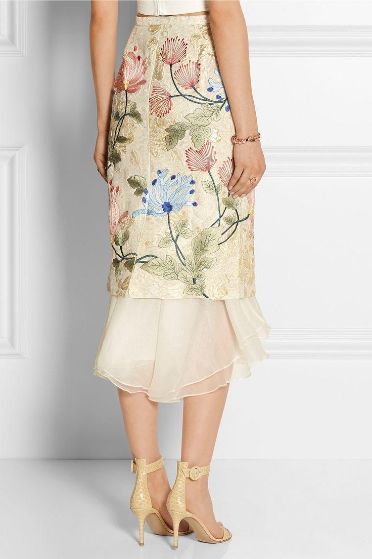 Biyan|Mirea embroidered brocade and silk-organza midi skirt