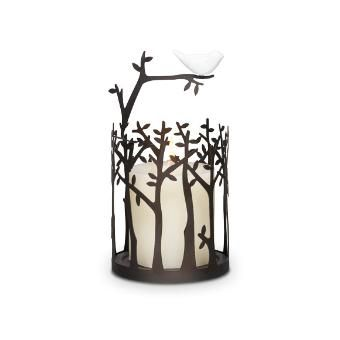 """A dainty ceramic bird balances on a metal branch bringing a lighthearted touch to any space. Heat from a tealight gently warms Scent Plus™ Melts placed in the glass dish. Melts and tealight sold separately. Also can be used as a candle sleeve (as seen in photo). Some simple assembly. Cutwork metal. 8"""" (20 cm) h, 4"""" (10 cm) diam. Dish: 4¾"""" (12 cm) diam."""