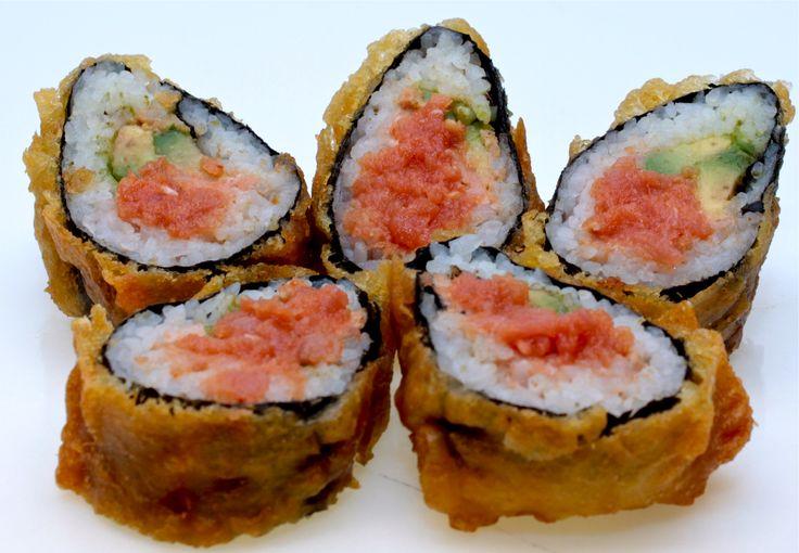 Spicy-Tuna-Tempura1  Deep fried spicy tuna roll dressed wth eel sauce