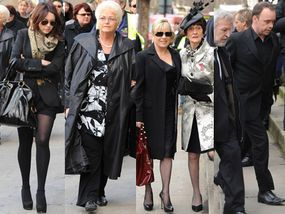 EastEnders cast at the funeral of Wendy Richard (1943-2009)