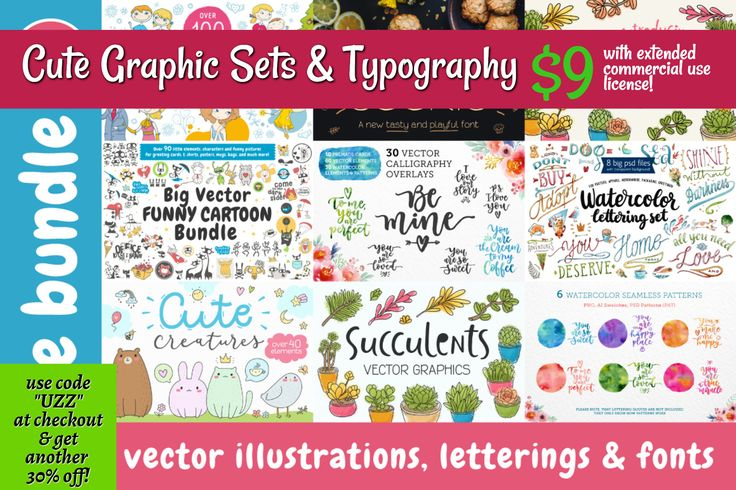 Set of 7 cute graphics sets and 2 handdrawn custom fonts. Perfect for greetings, posters, baby prints, apparel, packaging, invites, graphic design and much more!  use code  at checkout  & get another  30% off! / Cute Graphic Sets & Typography / $9 / with extended commercial use license!