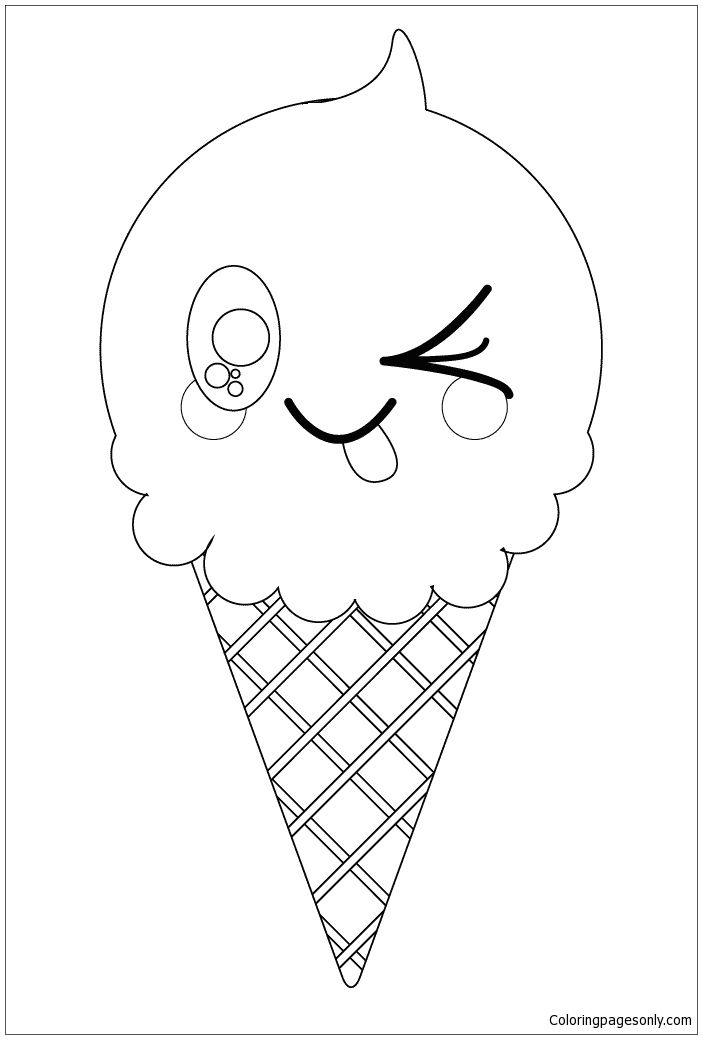 Kawaii Ice Cream Cone Coloring Page Cute Coloring Pages Flag Coloring Pages Coloring Pages