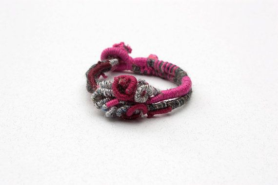 Hand wrapped bracelet, fiber art jewelry, gray fuchsia burgundy, OOAK