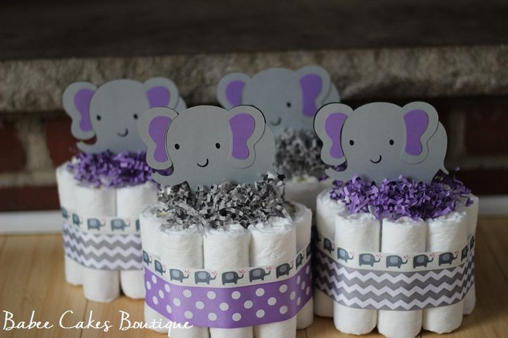 SET OF 4 Mini Purple and Gray Elephant Diaper Cake, Purple Gray Elephant Baby Shower, Girl, Baby Centerpiece, Purple Grey Chevron Elephant - http://www.babyshower-decorations.com/set-of-4-mini-purple-and-gray-elephant-diaper-cake-purple-gray-elephant-baby-shower-girl-baby-centerpiece-purple-grey-chevron-elephant.html
