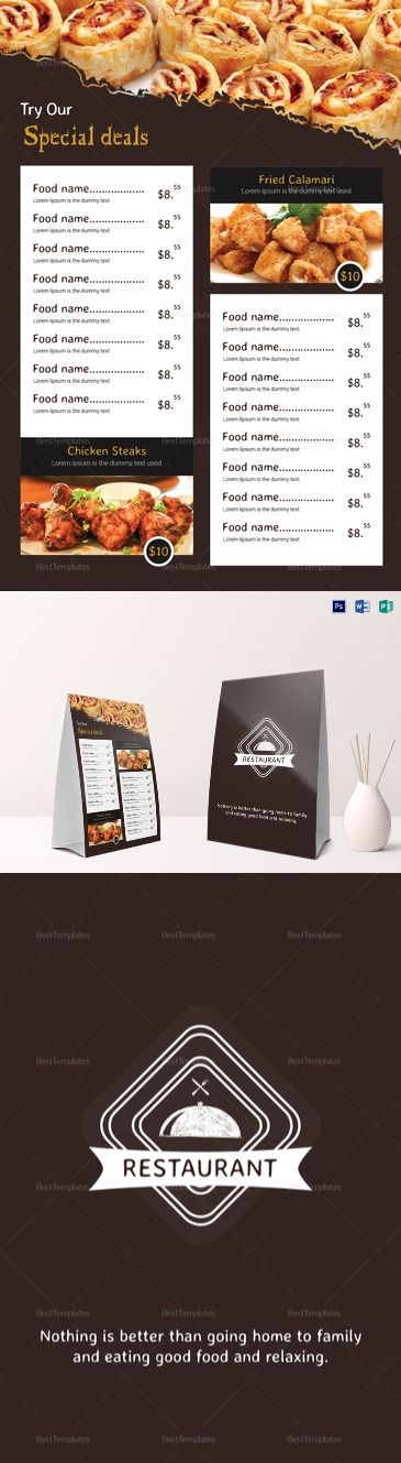 Restaurant Table Tent Menu Template  Formats Included : MS Word, Photoshop, Publisher File Size : 4.25x6.25 Inchs