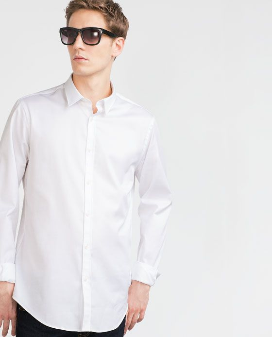 ZARA - MAN - SHIRT WITH PIPED COLLAR INTERIOR