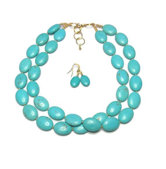 Turquoise Necklace 2 Strand Turquoise Oval by WildflowersAndGrace