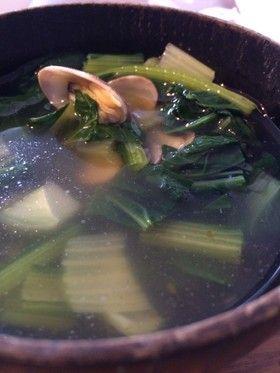 アサリとターサイのスープ