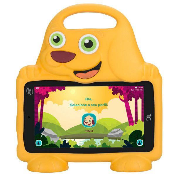 Tablet DL Drop Kids Plus, Tela 7, 8GB, Câmera, Capa em Formato de Cachorro, Quad Core de 1.3 GHz