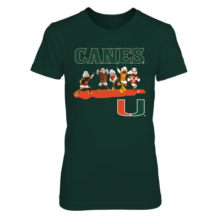 Miami Hurricanes - Canes Mascot T-Shirt, Click the GREEN BUTTON, select your size and style.  The Miami Hurricanes Collection, OFFICIAL MERCHANDISE  Available Products:          District Women's Premium T-Shirt - $29.95 District Men's Premium T-Shirt - $27.95 Gildan Unisex T-Shirt - $25.95 Gildan Women's T-Shirt - $27.95 Gildan Unisex Pullover Hoodie - $49.95 Next Level Women's Premium Racerback Tank - $29.95 Gildan Long-Sleeve T-Shirt - $33.95 Gildan Fleece Crew - $39.95 Gildan Youth…