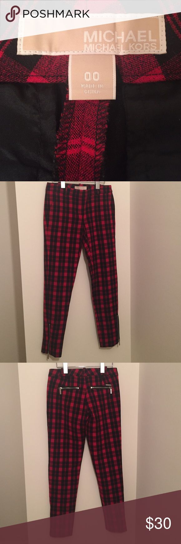Michael Kors pants Black and red plaid Michael Kors pants! Silver zipper detail at the ankles. Super cool rocker look! In perfect condition. MICHAEL Michael Kors Pants Ankle & Cropped
