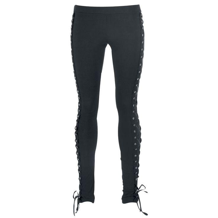 """Leggings neri """"Corset"""" del brand #Vixxsin con lacci laterali intrecciati."""
