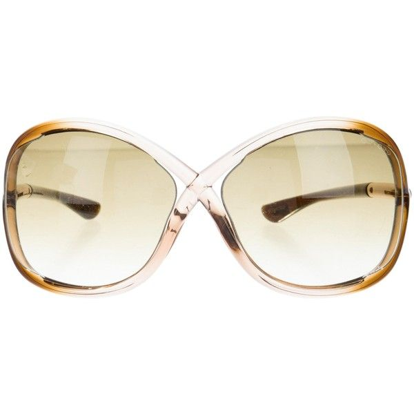 Pre-owned Tom Ford Oversize Whitney Sunglasses ($180) ❤ liked on Polyvore featuring accessories, eyewear, sunglasses, brown, tom ford sunglasses, brown glasses, acetate sunglasses, brown oversized sunglasses and tom ford glasses