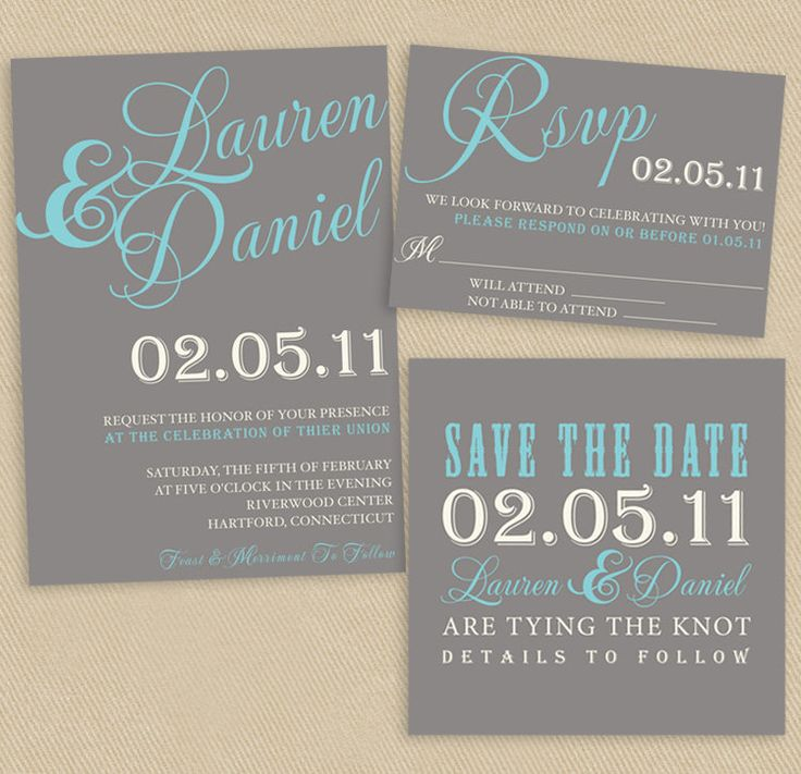 "Printable Wedding Set: 5x7 Invite, 5x3.5 RSVP and 4.5"" Square Vintage Poster Style. $25.00, via Etsy."
