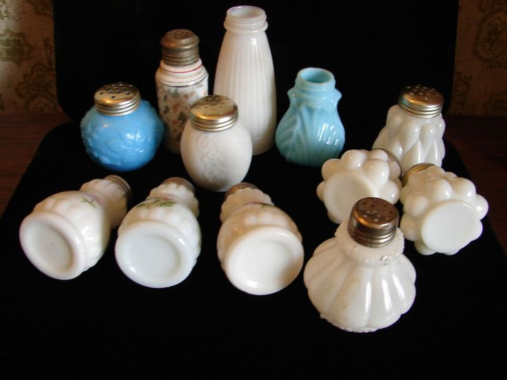 Antique & Vintage Mixed Lot of 12 Opaque White & Blue Glass Salt & Pepper Shaker #Victorian #ManyMakers