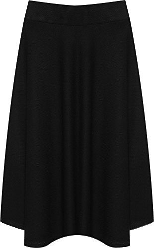 5e3e8ab01b7f7 Women s Plus Size Flared Knee Length Skater Skirt Ladies Elasticated  Stretch Pleated Midi 14-28