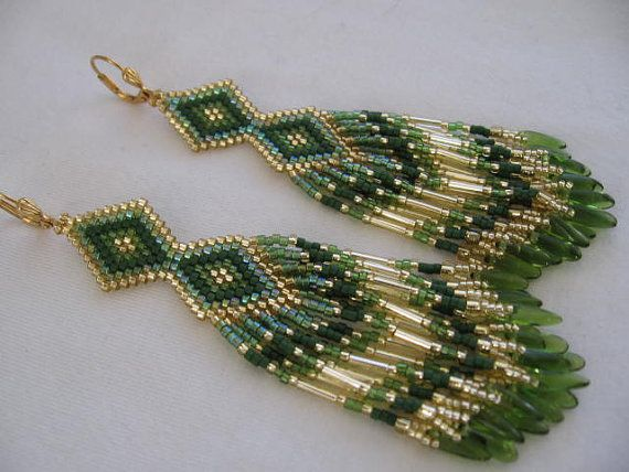 Seed Bead Earrings Native American Beadwork by pattimacs on Etsy
