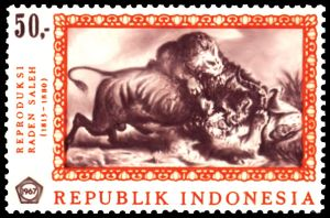 Raden Saleh Painting on Indonesia stamp The finds from the Maros cave sites on Sulawesi raise the possibility that such art predates the exodus of modern humans from Africa 60,000 or more years ago (get more information abount Indonesia painting in ITS Book).