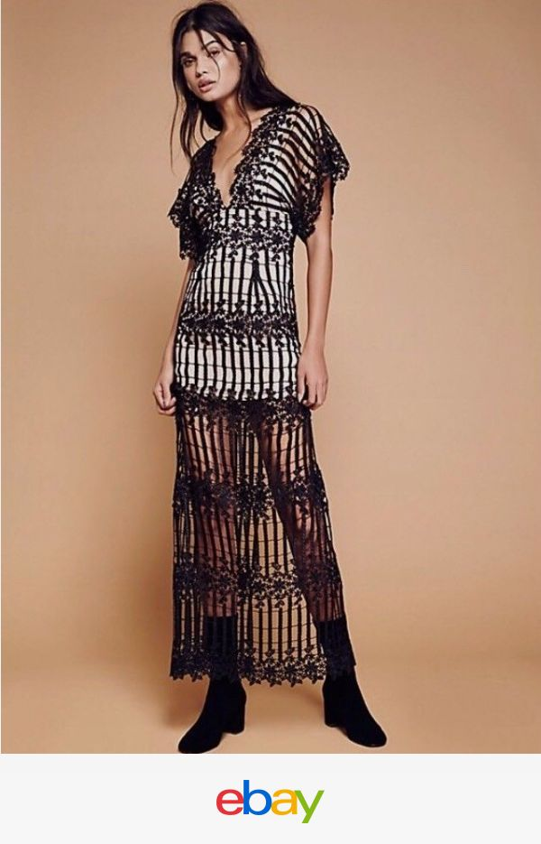 NWT Free People Night Whispers Lace Maxi Dress, 2, Black $400