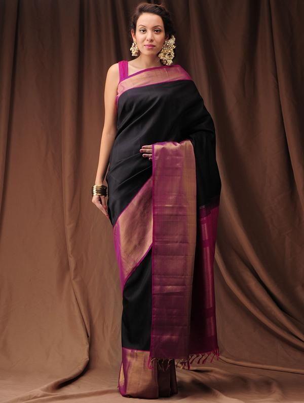 Dark Pink-Black Zari Kanjivaram Silk Saree Image