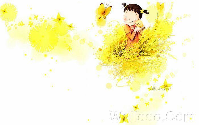 Kim Jong Bok Illustrations(Vol.03) - Cartoon Cute Fairy Girl  - Art Illustration : Cheerful Little girl holding a baby chick 9