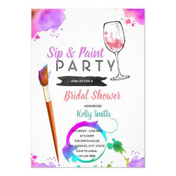 Paint And Sip Bridal Shower Party Invitation Zazzle Com In 2020 Bridal Shower Party Invitations Bridal Shower Party Bridal Shower Invitation Wording