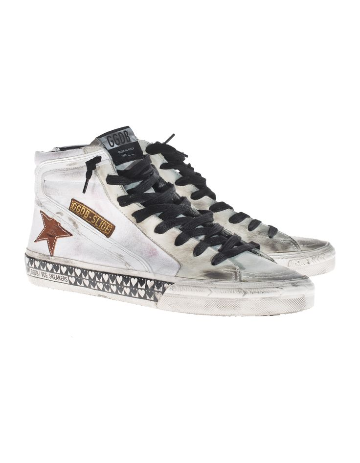 GOLDEN GOOSE Slide Col Nabuk White High canvas sneakers - Shoes