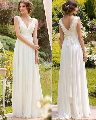 Scalloped Lace Neck 2016 Boho Beach Wedding Dress Bridal Gown Custom Size2 4 6 8