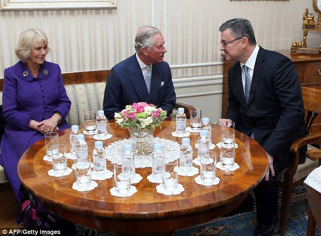 Charles and Camilla meet with Croatian Prime Minister Tihomir Oreskovi over a glass of wat...