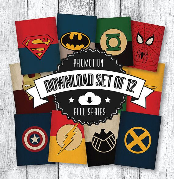 DC Universe Marvel Comic Book Superhero PRINTABLE ART Promotion Batman Poster Avengers Poster Xmen Superman Spiderman Batman Decal