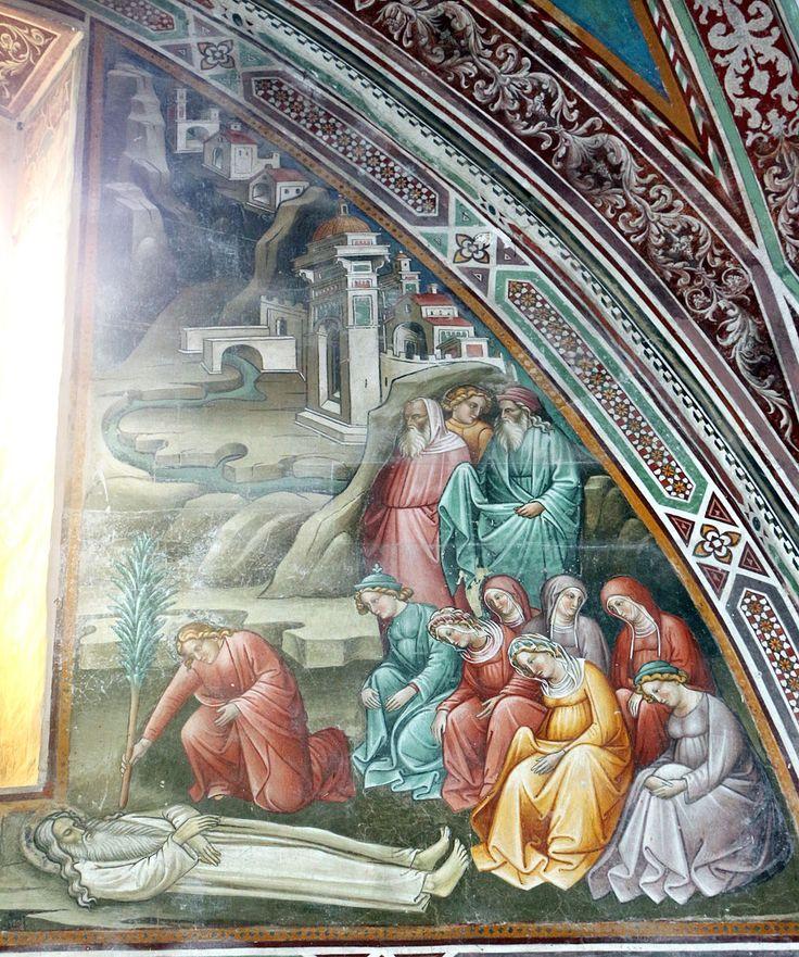 Cenni di francesco, cappella della croce di giorno, 1410, seth riceve l'albero del peccato e lo pianta sulla tomba di adamo 03.