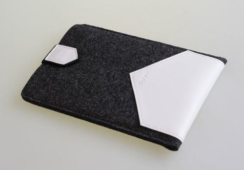 """Gary & Ghost iPad Mini 2/ Google Nexus 7 / Samsung Tab2 7"""" Sleeve Case Cover by Pure Wool Felt and Vegetable Tanned Leather with Stand Up Feature (Dark Wool Felt and White Leather) , http://www.amazon.co.uk/dp/B00IRPYIKI/ref=cm_sw_r_pi_dp_ABjvtb1CZ2ZSP"""