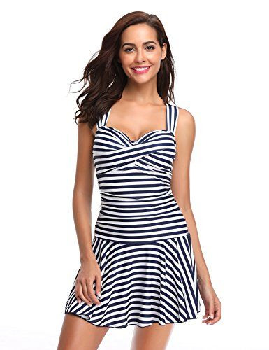 e9cac9203a LALAVAVA Women's One Piece Swimsuit Ruched Tummy Control Skirted Bathing  Suit