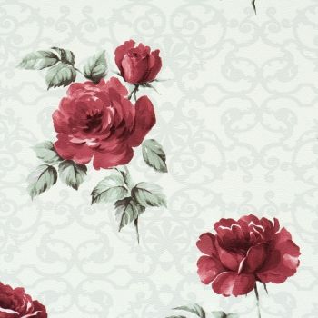 Pleasant White & Red Floral Wallpaper R1527 #marsala #coloroftheyear #pantone