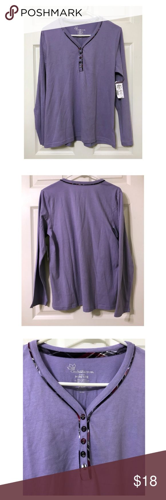 "NWT Croft & Borrow Cozy Purple Long Sleeve Top NWT Croft & Borrow Cozy Purple Long Sleeve Top  Condition: NWT Approximate Measurements: Size medium petite Width-19.5"" Length-24"" croft & barrow Tops Tees - Long Sleeve"