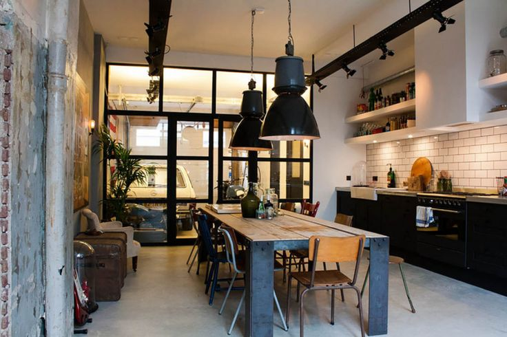 Black Industrial Lighting for An Eclectic Kitchen
